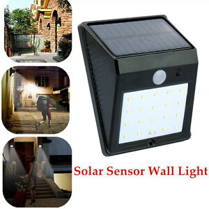 Solar Powered Bright Led Wireless PIR Motion Sensor Security Shed Wall Light UK eBay