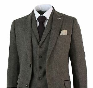 Mens Brown Herringbone Tweed Wool Mix Black 3 Piece Vintage Retro ...