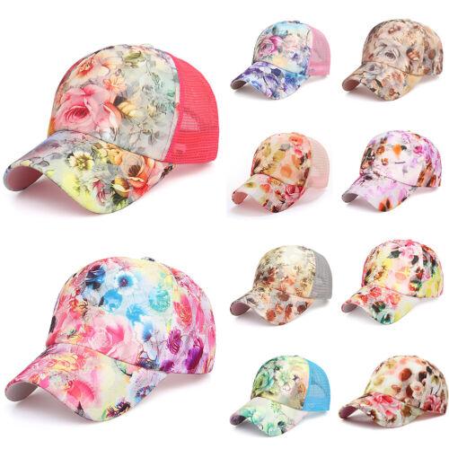Women Summer Mesh Sun Hat Rose Painting Embroidery Flower Snapback Baseball Cap