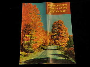1958 Official Massachusetts Tourist Route System Map MA Vintage State