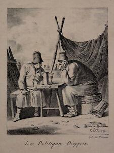 """CoopéRative Estampe Les Politiques Dieppois Signée 1821 Dans La Planche """"periaux"""" Napoléon"""