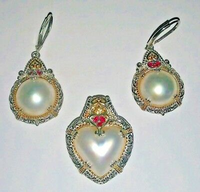 "1 3//16/"" WHITE MABE PEARL BALI CAST 925 STERLING SILVER pendant"