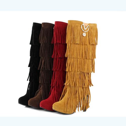 Bottes Frange Bottines High Fashion souple à Talon Haut Botte Chaude élégant Chaussures Taille