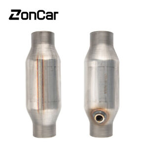 Pair 2.5inch Universal Catalytic Converter High Flow Stainless Steel 410250 New