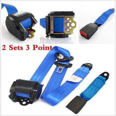 Blue 2Set 3 Point Safety Adjustable Retractable Auto Car Seat Belt Lap Universal