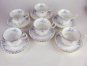 Set-6-Teacups-amp-Saucers-Royal-Albert-Memory-Lane-vintage-England-various-stamps