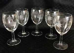 5-Fuchsia-Etched-Wine-Glasses-Clear-Engraved-Flower-Glass