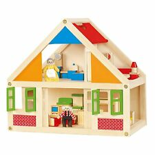 Viga Wooden Dolls/Doll's House+Furniture+Grandma+Grandad - Children's/Kids Toy