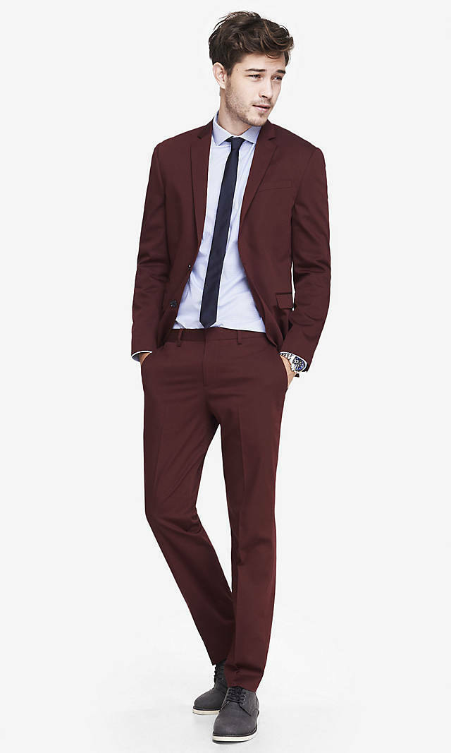 NEW EXPRESS BURGUNDY SLIM PHOTOGRAPHER COTTON SATEEN SUIT PANT SZ 31 30