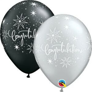 Felicitations-Noir-amp-Argente-Fete-Ballons-en-Latex-Qualite-Helium-27-9cm
