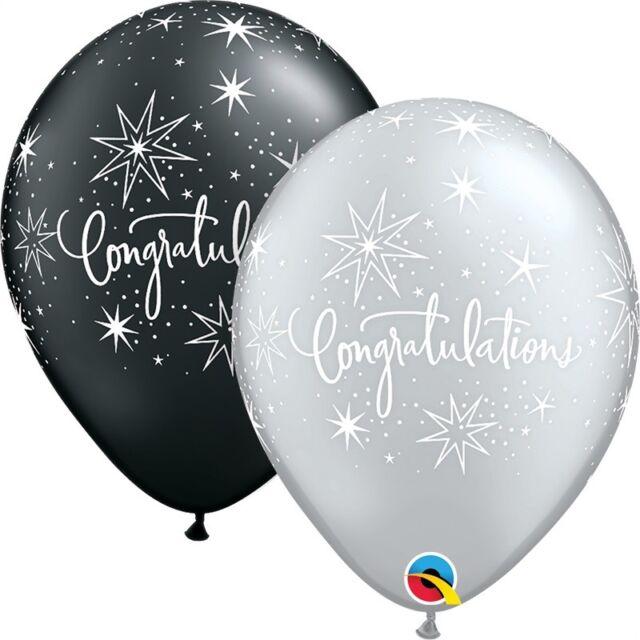 "Qualatex Helium quality 11/"" Grey Latex Balloons 10pk"