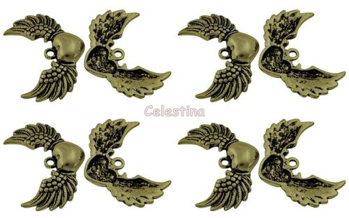 Winged Heart Pendants 36.5mm Large Wings 4 Antique Bronze Angel Wing Charms