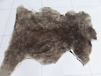 Sheepskin Shearling Leather Hide Dark Brown Tipped Taupe Short Silky Hair