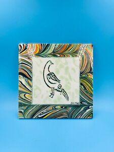 """Original Ozkan Elagoz Ebru Tile – """"Peace Dove"""" – Signed by Artist/Home Decor"""