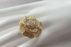 High-End-Pave-Cz-Clear-Rhinestone-Camelia-Flower-Statement-Size-4-5-Ring