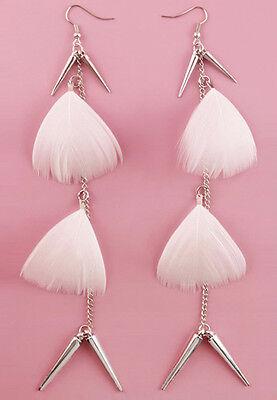 F1691 white Feather shiny golden chain elegant noble dangle chandelier earrings