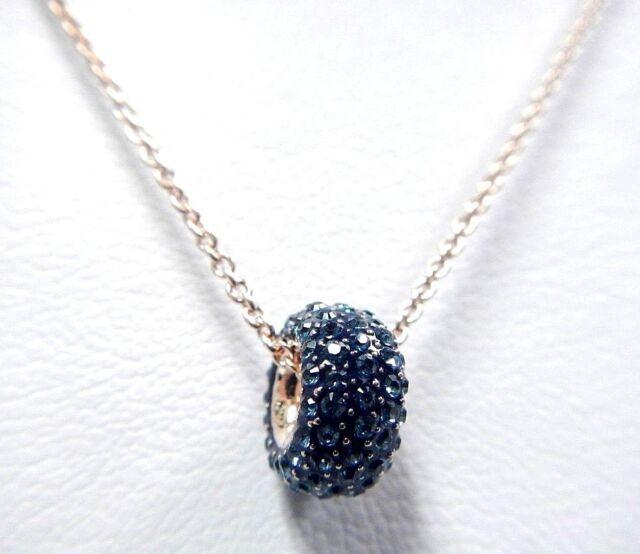 Swarovski Crystal Stone Round Pendant Blue Rose Gold Plating 5389431 ... 41bb025695