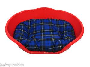 Bon CœUr Extra Large Xl Rouge Lit Pour Chien / Chat, Lit / Panier Avec Un Coussin Tartan Bleu-afficher Le Titre D'origine ChronoméTrage Ponctuel