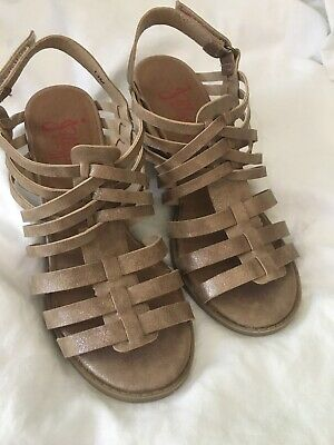 Tan Shimmer Wedge Sandals - Size