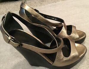 a545ca21fccb Image is loading Burberry-Abbey-Gold-Leather-Strappy-5-Platform-Sandals-
