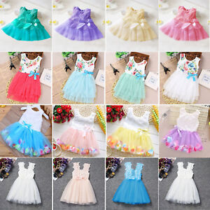 2019-Flower-Girl-Princess-Dress-Kid-Baby-Party-Wedding-Pageant-Tulle-Tutu-Dress