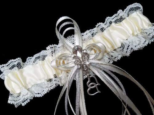 Gorgeous Ivory Cream Satin and Lace GARTER Belt Prom Wedding Bridal Rhinestones
