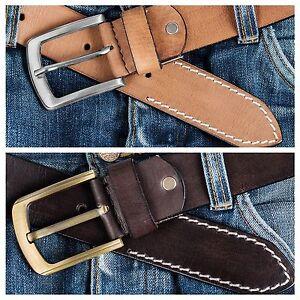 Leather Mens Belt Belts Strap 100/% Genuine Full Grain Real Black Tan Jeans Size#