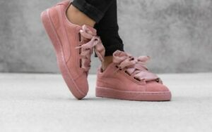 WOMEN'S PUMA SUEDE Heart Satin Casual Shoes Cameo Brown