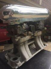 Sbc Chevy Edelbrock Alum Street Tunnel Ram Intake Manifold Carburetors Amp Scoop