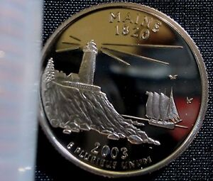 """A 2003 S Maine 90/% SILVER Deep Cameo /""""PROOF/"""" State Quarter US Mint Coin"""