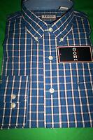 """NWT $55 IZOD MENS BUTTONDOWN L/S DRESS SHIRT-""""TRUE BLUE PLAID""""-XL X-LARGE"""