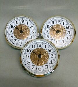 """3-Pack CLOCK FIT UP FANCY FACE white & gold, insert, 3 1/2"""" dia, (_52) NEW, #333"""