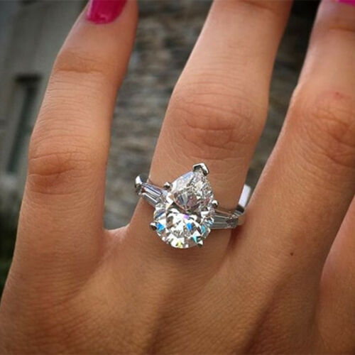 1.25Ct Pear and Baguette Cut in 10K White Gold Diamond Engagement Ring