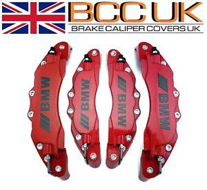 Big-Red-Aluminium-Etrier-De-Frein-Couvre-Kit-BMW-M-logo-avant-arriere-4x-L-M-fits-BMW