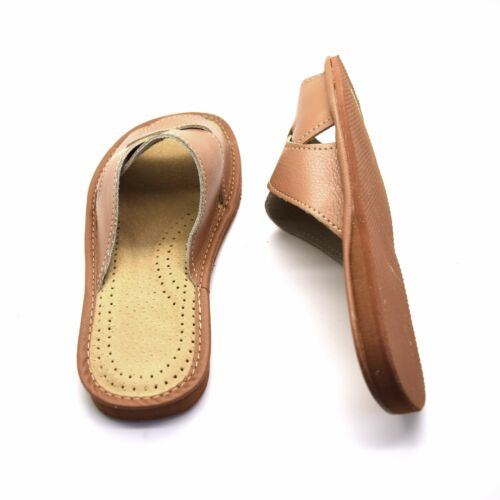 Womens Ladies Eco Leather Slippers Slip On Shoes 3 4 5 6 7 8 Mules Sandals Brown