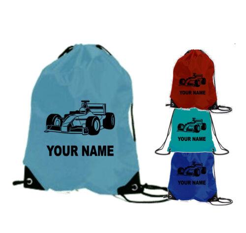 RACING CAR gym bag SCHOOL PERSONALISED F1 formular one CARS boys swim sports pe