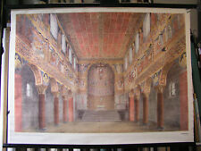 schönes altes Schulwandbild Wandkarte Romaischer Baustil 2 104x76 vintage 1959
