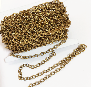 10ft spool of Antique Gold Plated brass Round Cable Chain 4x5mm bulk gold chain