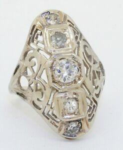 Antique 14K WG 1.0CTW diamond 5-stone filigree cocktail ring w/.50CT ctr. size 4
