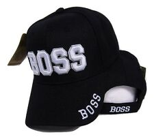 Boss White Letters Black Embroidered Baseball Cap Hat