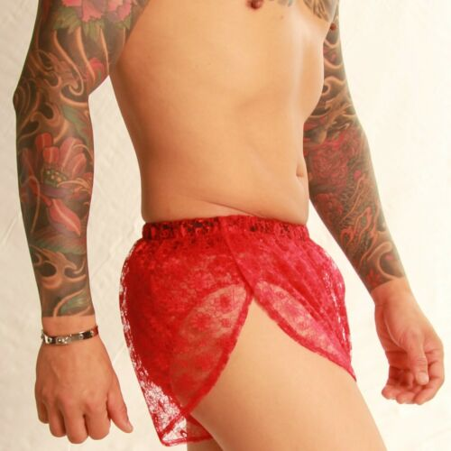 Lace Lounge Bed Shorts Small to 4XL Red