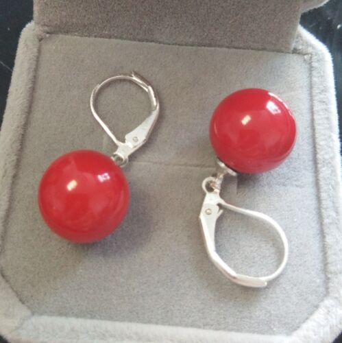8//10//12//14mm Red Round south sea shell pearl Silver Hook dangle earrings AAA