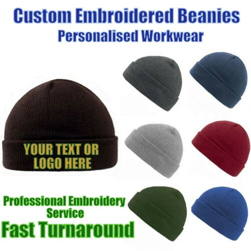 Personalised Embroidered Beanie Hat Pullover Cuffed Beanie Work wear Unisex