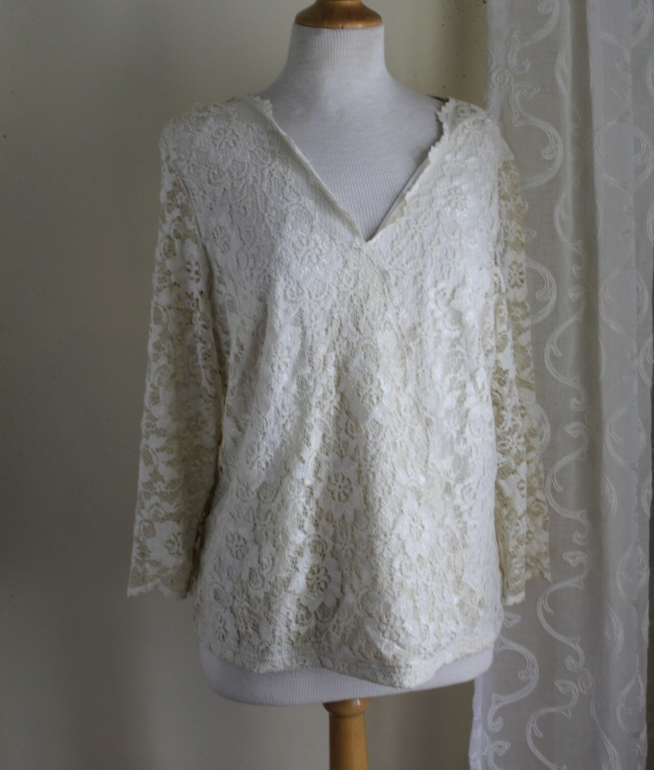 Coldwater Creek -Sz 1X or XL Romantic Ivory Wrap Knit Sheer Sleeves Knit Top