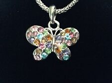 New! Rainbow Crystal Butterfly Necklace & Charm Pendant Jewelry Youth Girl Gift
