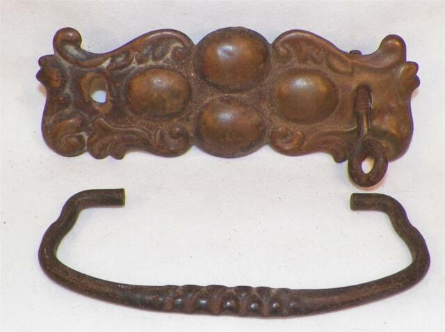 4 Art Deco Drawer Pulls Pressed Brass Antique Bureau Chest 1 Needs Handle