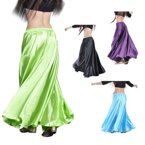 Fashion Women Belly Dance Costumes Skirt Shining Satin Long Skirt Swing Skirt