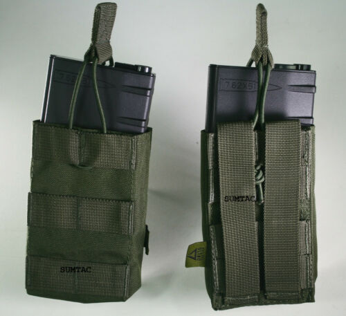 Open Top AMMO Pouch single or double airsoft OD green for  AEG magazine