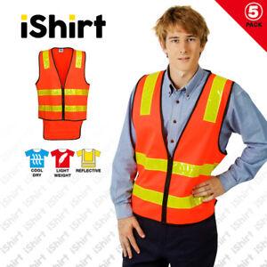 5 X HI VIS VEST SAFETY VEST REFLECTIVE TAPE VIC ROAD ZIP UP SAFETY WORKWEAR