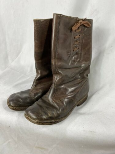 Vintage 1930s Kids Leather Tanker Boots Quality